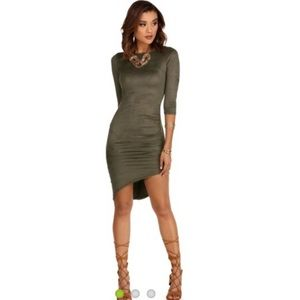 Windsor Faux Suede 3/4 Sleeve Olive Green Dress